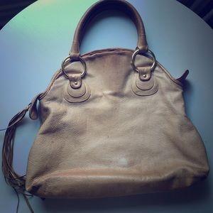 Bulga tan leather handbag